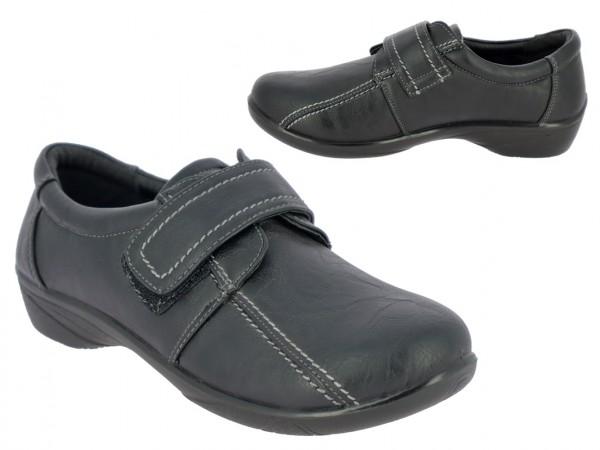 .Da.-Schuh, PU,1 x Klett, mit Ziernähten, PU-Sohle, schwarz