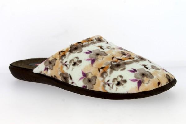.Da.-Pantoffel, TR, Textil mit Blumen, PU-Sohle, braun-weiß