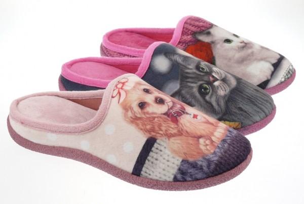 .Da.-Pantoffel, PVC-Sohle, Fleece m. Aufdruck Hund+Katze, fuchsia+fuchsia/grau+pink