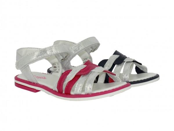Ki.-Sandalette, TPR-Sohle, 1x Klett, geflochtene Riemen, PU, navy-silber + fuchsia-silber