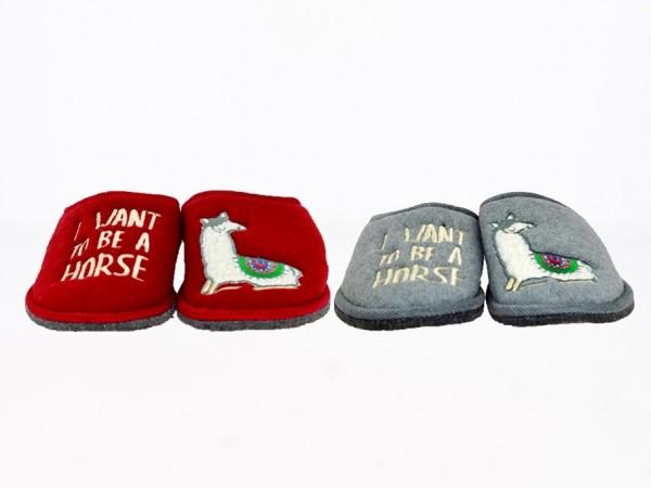 .Da.-Pantoffel, Filzsohle mit Noppen, Polar-Fleece, Schriftzug+Lama, grau + bordeaux