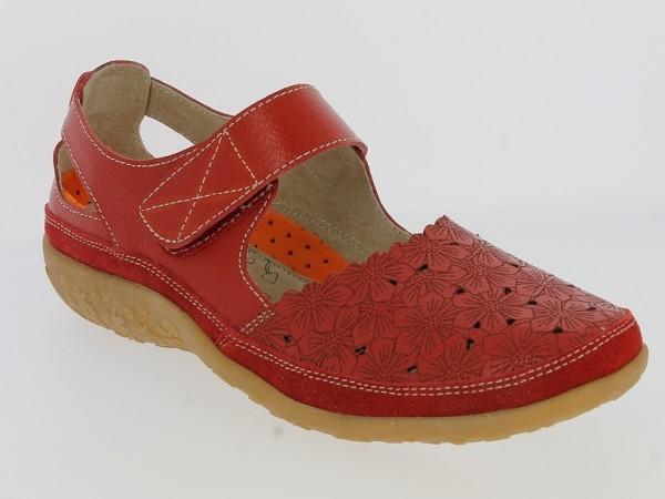 .Da.-Schuh, TPR-Sohle, Riemen m. Klettverschluss, Leder, Lederinnensohle, Blumenmuster, rot