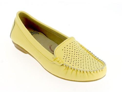 .Da.-Schuh, Slipper, Leder, Lochmuster, Lederinnensohle, Rubber-Sohle, gelb