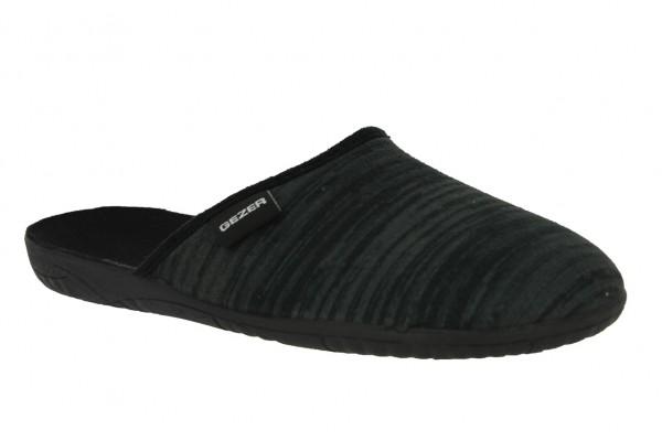 .He.-Pantoffel, TR, Textil, PVC-Sohle, schwarz-grau