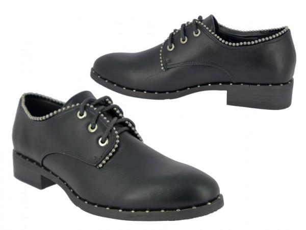 .Da.-Schuh, TPR-Sohle, Schnürer, Ziersteine, PU, schwarz