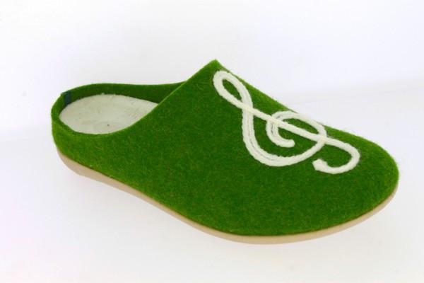 .Da.-Pantoffel, Sp., Filzstoff, mit Notenschlüssel, PU-Sohle, grün
