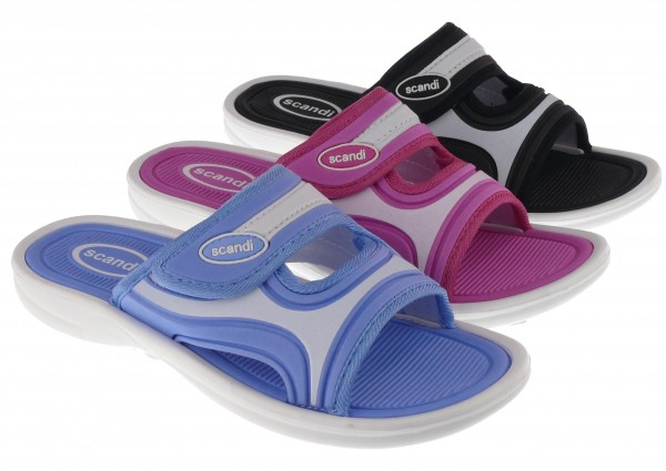 .Da.-Badepantolette, EVA, Bandage mit Klettverschl, EVA-Sohle, pink+blau+schwarz