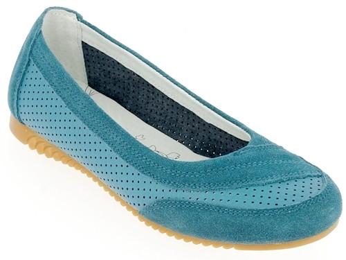 .Da.-Schuh, Slipper, Leder/Wildleder, Lochmuster, Lederinnensohle, Rubber-Sohle, blau