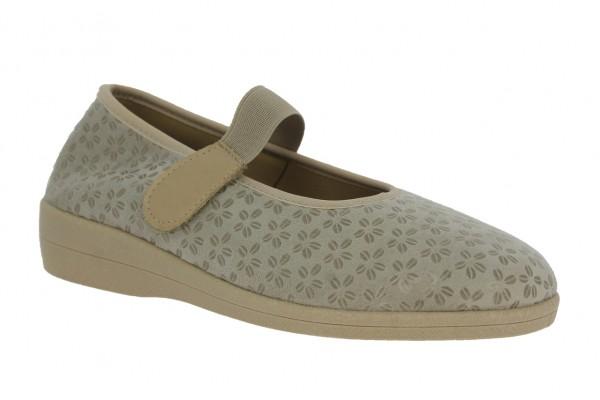 .Da.-Schuh, Sp., PU-Sohle, Gummizugriemen m. Klettvers., herausnehmb.Innensohle, Textil, Blumen- mus