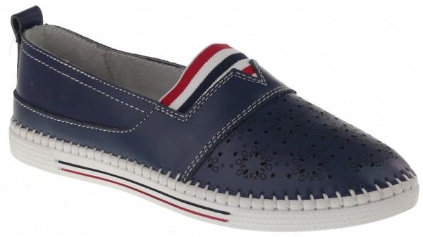 .Da.-Schuh, Gummi-Sohle, Lederinnenausst., Leder, gr.Gummizug m.bunten Streifen über Spann, navy