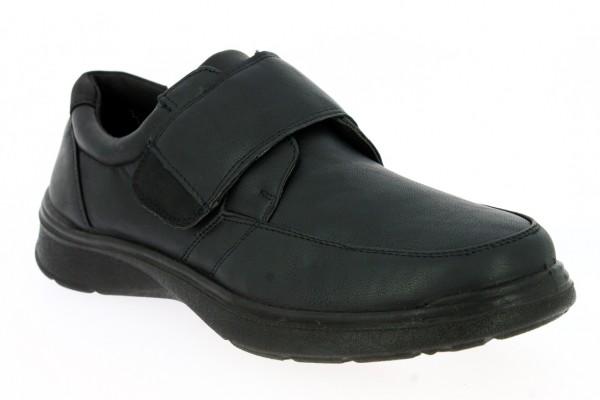 .He.-Schuh, PU-Sohle, Slipper, Klettverschluss, PU, schwarz
