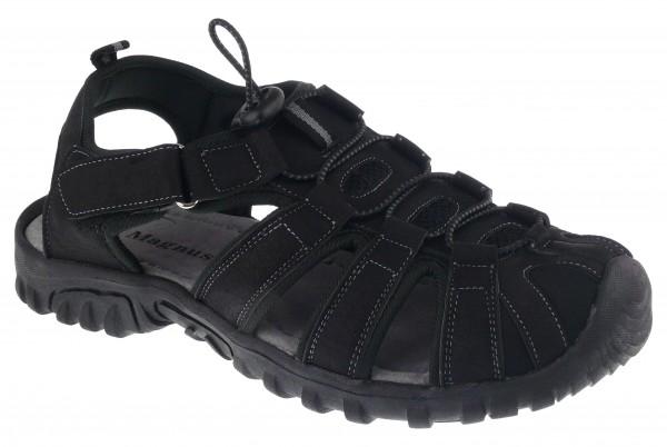 .He.-Sandalette, TPR-Sohle, Klett+Gummizg zum verstellen, Lederinnensohle, PU, schwarz
