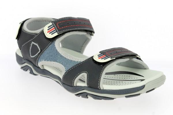 .He.-Sandalette, TPR-Sohle, 2 x Klett, Klett hinten, PU+Jeans, navy