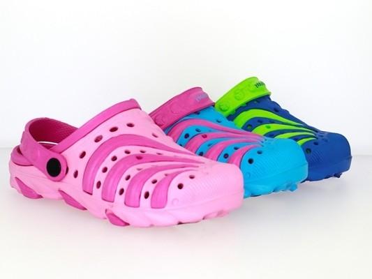 .Ki.-EVA-Clog, mit Löchern+Riemen, fuchsia-pink+ navy-grün+ h.blau-pink