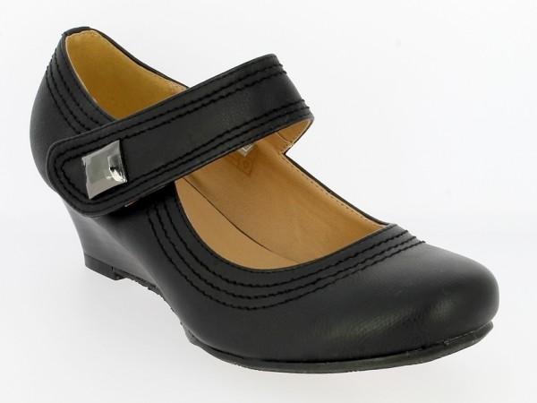 .Da.-Schuh, Rubber, 1x Klett m. Zierstein, Keilabsatz, schwarz