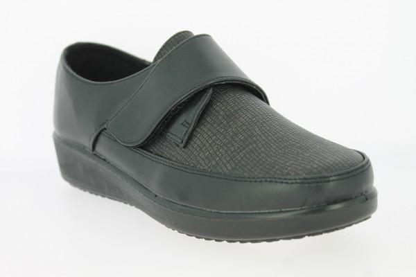 .Da.-Schuh, PU-Sohle, 1x Klettverschl.,vorn gemustert, Vliesfutter, PU, schwarz