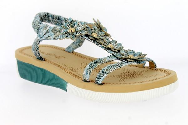 .Da.-Sandalette, PU-Sohle, mit Blumenappl., Fesselriemen mit Gummizug, PU, blau (gleiche Farbe wie A