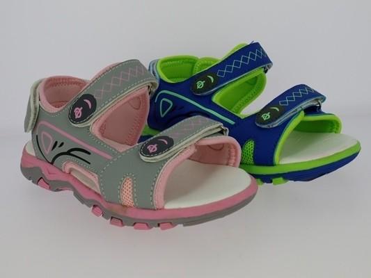 .Ki.-Sandalette, TPR-Sohle, 2 x Klett, Klettverschluss hinten, PU, grau-pink+blau-grün