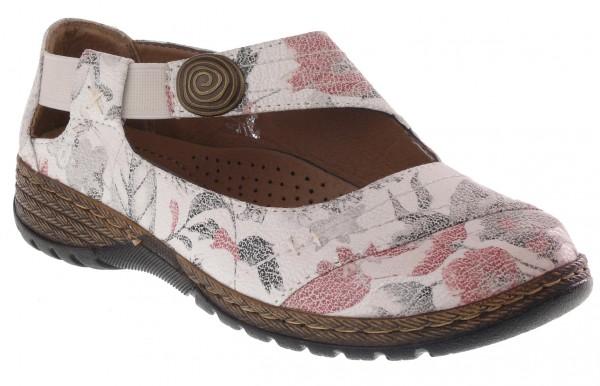 .Da.-Schuh, PU-Sohle, Gummizug mit Zierknopf, mit Blättern, PU, weiß
