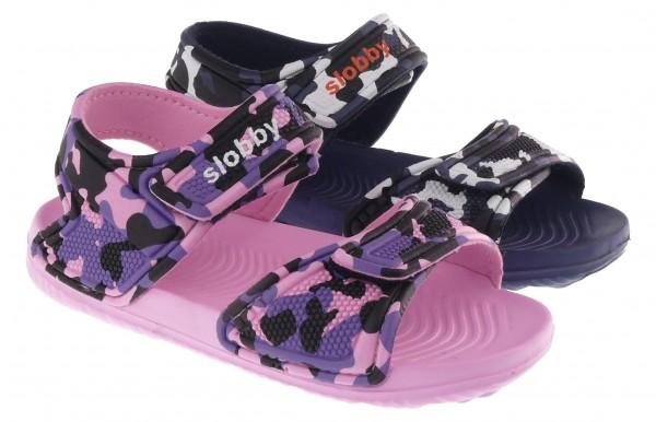 .Ki.-EVA-Sandalette, Klettverschluss, pink-lila+navy-weiß
