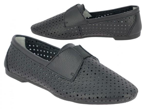 .Da.-Schuh, Gummizug, Leder, mit Löcher, Lederinnensohle, TPR-Sohle, schwarz