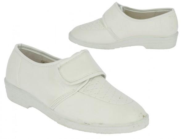 . Da.-Schuh, Sp., Slipper, 1 x Klett, Soft-PU, weiß