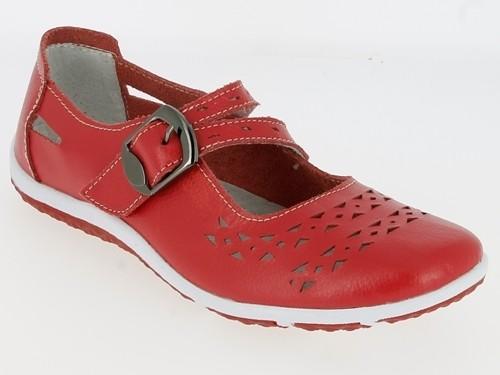 .Da.-Schuh, Leder, 1 x Klett m. Zierschnalle TPR-Sohle, Lederinnensohle, m. Lochmuster, rot