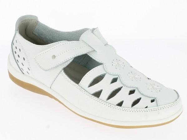 Da.-Schuh, Leder, 1 x Klett, Stickerei, Lochmuster, Gummi-Sohle, weiß