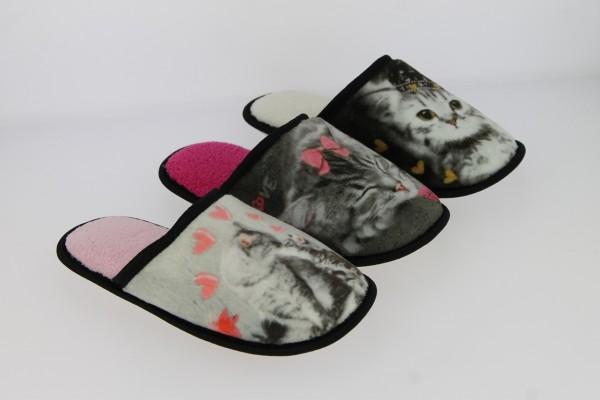 .Da.-Pantoffel, TPR-Sohle, mit Katzenmotiv, Plüschinnensohle, grau-fuchsia+schwarz-weiß+grau-pink