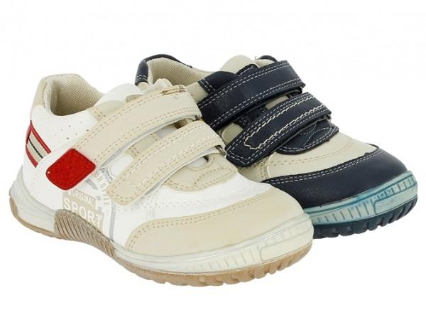 .Ki.-Schuh, PU, 2 x Klett, Lederinnensohle, TPR-Sohle, weiß-beige+beige-navy