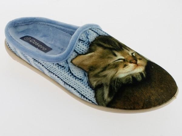 .Da.-Pantoffel, Sp., Samt, mit schlafender Katze, herausnehmbare Innensohle, flache Sohle, h.blau