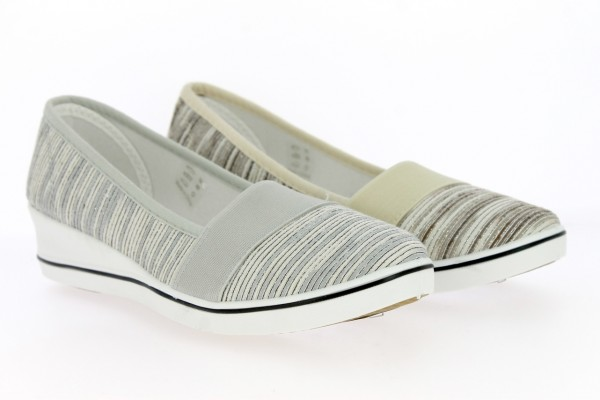 .Da.-Leinenschuh, Slipper, PVC-Keilsohle, br. Gummizug, Textil, grau-silber +beige-silber