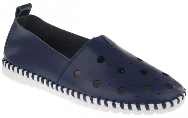.Da.-Schuh, ultraflex. Gummisohle, Gummizug mittig, großes Lochmuster, Leder-Wechselsohle, PU, navy