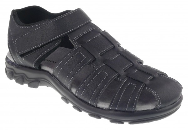 .He.-Sandalette, PU-Sohle, Klettverschluss, Lederinnensohle, PU, schwarz