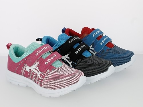.Ki.-Sportschuh, Phylon-Sohle, 2x Klett, PU+Offset print, grau-blau + blau-rot + fuchsia-türkis