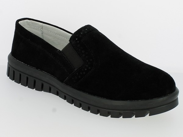 .Da.-Schuh, Slipper, Gummiprofilsohle, 2 x Gummizug, Wildleder, Lederinnenausst., schwarz