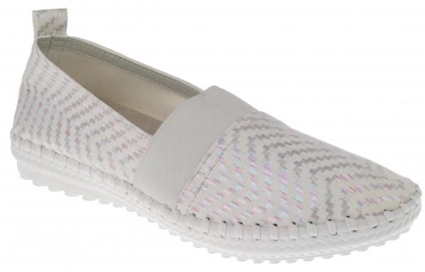 .Da.-Schuh, ultraflex. Gummisohle, Slipper, br.Gummizug, Leder-Wechselsohle, bedr. Microfaser, weiß