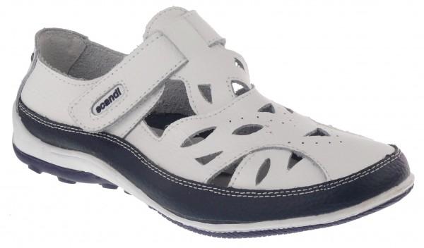 .Da.-Schuh, Leder, 1 x Klett, m. Löcher, Lederinnensohle, TPR-Sohle, weiß-navy