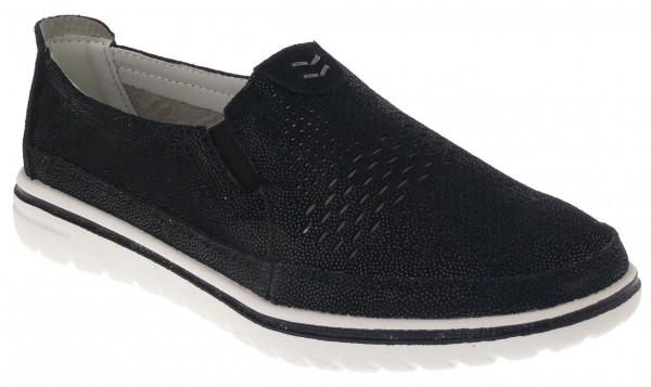 .Da.-Schuh, MD-Sohle, 2 x Gummizug, Lederinnensohle, bedruckt, Leder, schwarz