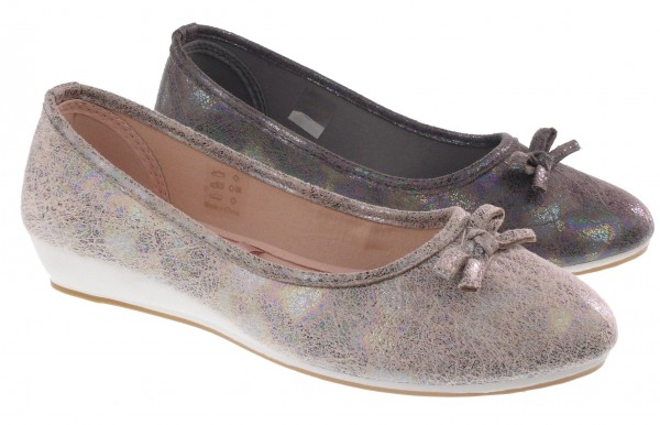.Da.-Ballerina, PVC-Keilsohle, Soft-PU, gemustert + Zierschleife, grau + beige