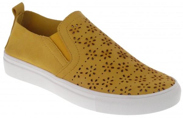 .Da.-Schuh, Gummi -Sohle, Slipper, Lochmuster, 2x Gummizug, Leder-Wechselsohle, Microfaser, gelb