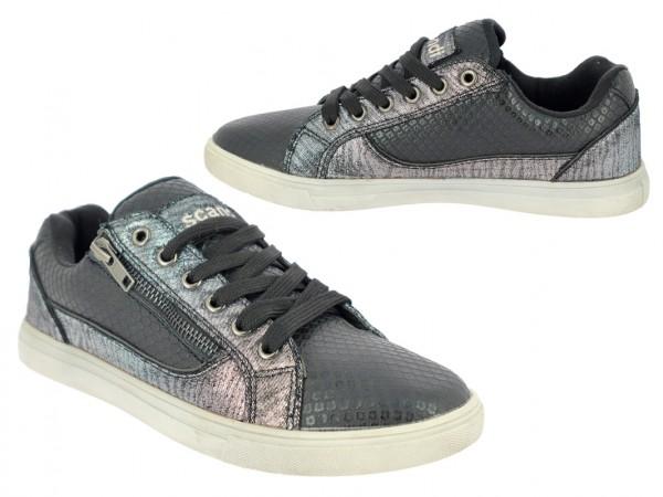 .Da.-Schuh, TPR-Sohle, Schnürer, Zierreißverschl., Reptiloptik m. Glitzer, schwarz-silber