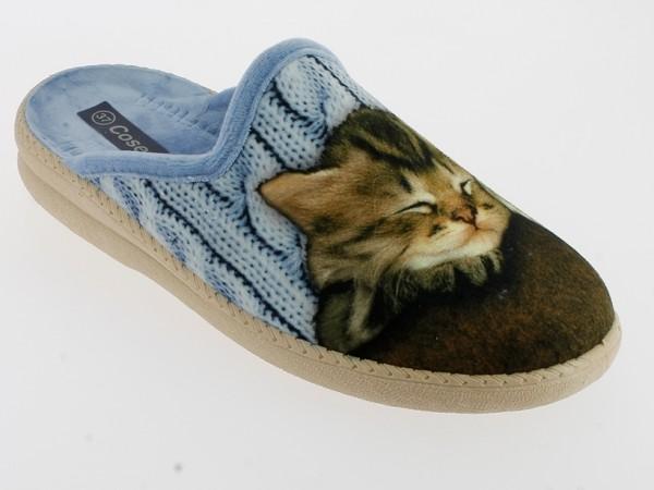 .Da.-Pantoffel, Sp., Samt, mit Katze, beige Sohle, blau