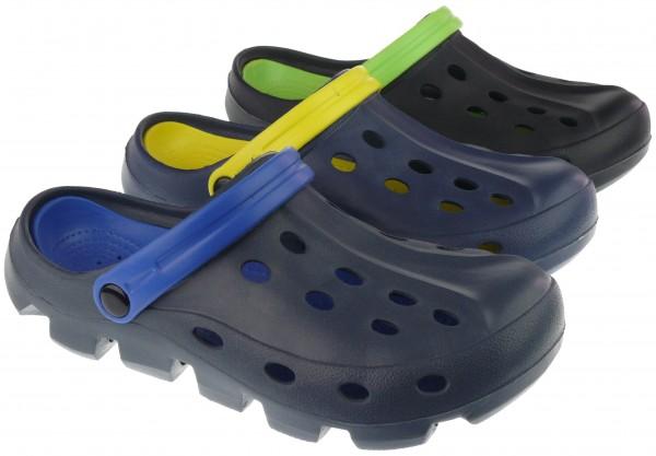 He.-EVA-Clogs, mit Riemen und Löchern, navy-gelb+grau-blau+schwarz-grün