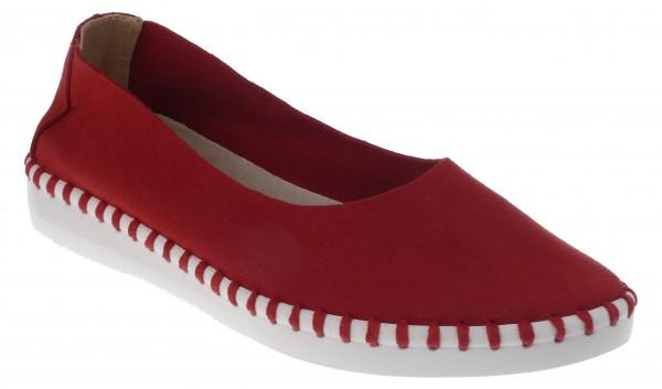 .Da.-Schuh, ultraflex. Gummisohle, Slipper, Leder-Wechselsohle, Microfaser, rot