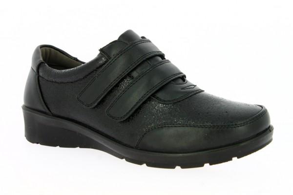 .Da.-Schuh, PU-Sohle, 2 x Klettverschluss, Glitzerapplikation, PU, schwarz