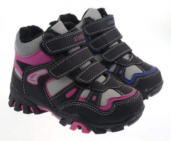 Ki.-Knöchelschuh, TPR-Sohle, PU+Mesh, 3 x Klett, Warmfutter, schwarz-fuchsia + schwarz-blau
