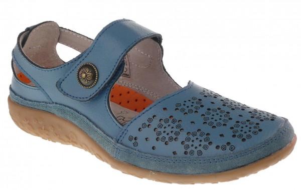 .Da.-Schuh, TPR-Sohle, Lederinnenaust., 1 Riemen m. Klett, Leder, Lochmuster, blau