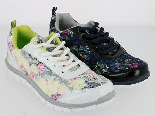 .Da.Sportschuh, Schnürer, Lack-PU/Textil, EVA-Sohle, mit Blumenmuster, weiß-grau-grün + navy-schwarz