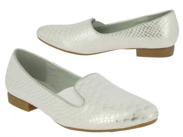 .Da.-Schuh, Slipper, PU, 1 x Gummizug, gemustert, Ziernaht, TPR-Sohle, silber
